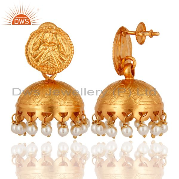 Exporter Traditional Style 18K Gold Over 925 Sterling Silver Natural Pearl Jhumki Earring