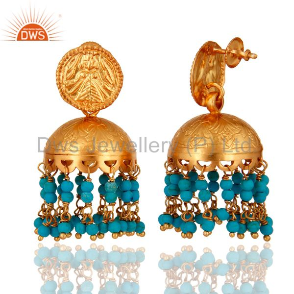 Exporter 18K Gold Plated Sterling Silver Turquoise Gemstone South Indian Style Earrings