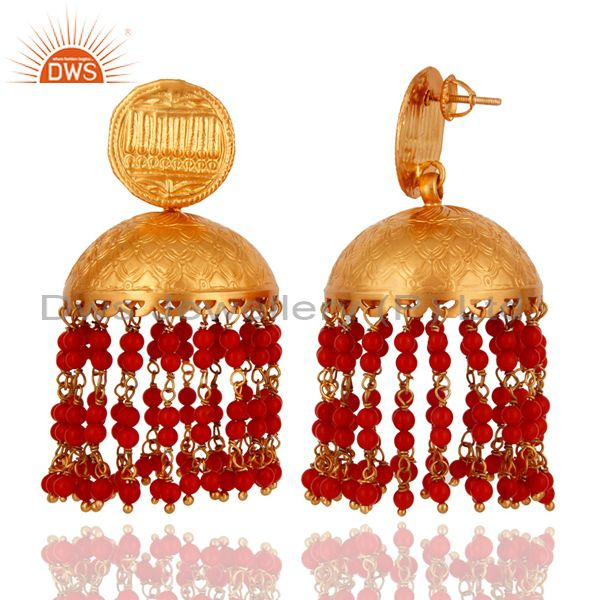 Exporter Traditional Red Coral Sterling Silver 22K Gold Plated Designer Jhumka Earrings