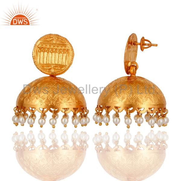 Exporter 925 Sterling Silver Natural Pearl 18K Gold Plated Handmade Designer Earrings