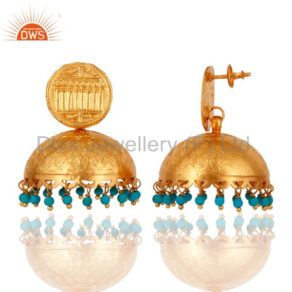 Exporter Designer 18k Gold Plated 925 Sterling Silver Jhumka Earring With Turquoise Beads