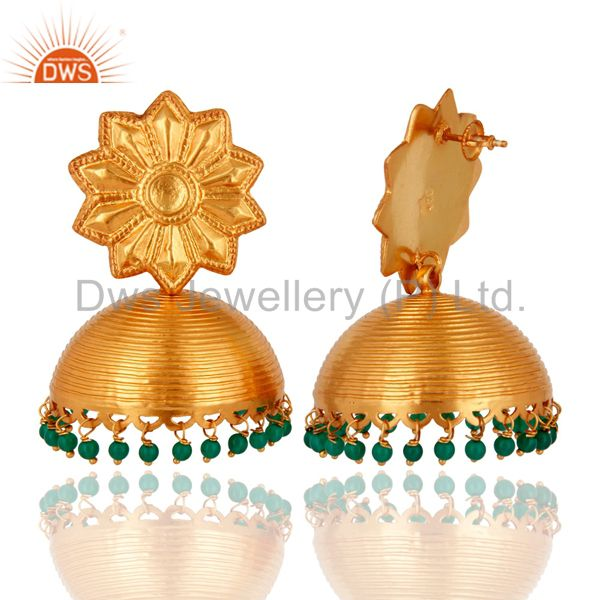 Exporter 22K Yellow Gold Plated 925 Sterling Silver Handmade Green Onyx Gemstone Earring