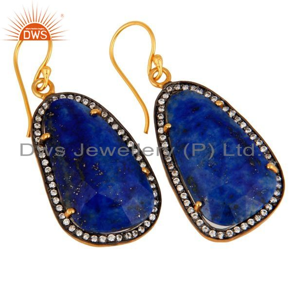 Exporter Lapis Lazuli Gemstone Earring Made In 18k Gold Over 925 Sterling Silver Jewelry