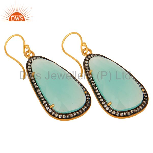 Exporter 18K Yellow Gold Plated Sterling Silver CZ & Dyed Aqua Chalcedony Dangle Earrings