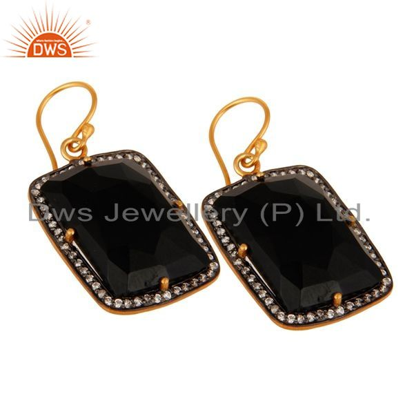 Exporter Faceted Black Onyx Gemstone Prong Set Earrings In 22K Gold Over Sterling Silver