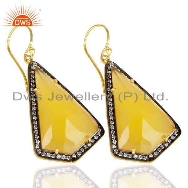 Exporter 14K Gold Plated 925 Sterling Silver Yellow Chalcedony Gemstone Dangle Earrings