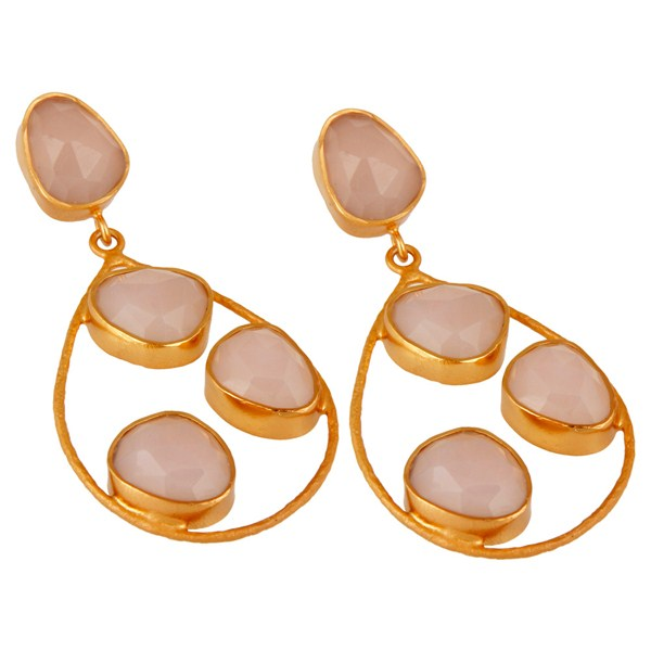 Exporter Sterling Silver 925 Handcrafted Rose Chalcedony Earrings With Gold Plated