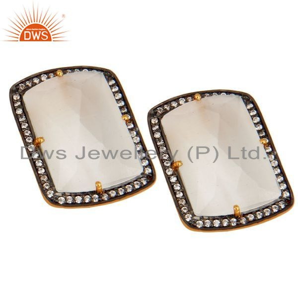 Exporter Gold Plated Sterling Silver White Moonstone & Clear Cubic Zirconia Stud Earrings