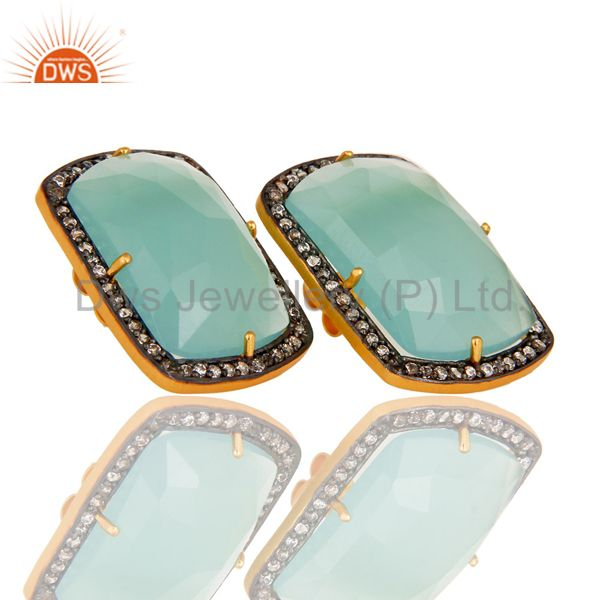 Exporter Handmade Silver With Gold Plated Aqua Chalcedony Girls Fashion Stud Earring