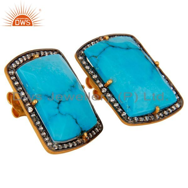 Exporter 18K Yellow Gold Plated Sterling Silver Turquoise Gemstone Stud Earrings With CZ