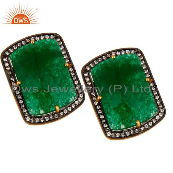 Exporter Green Aventurine And Cubic Zirconia 18K Yellow Gold Over Silver Stud Earrings