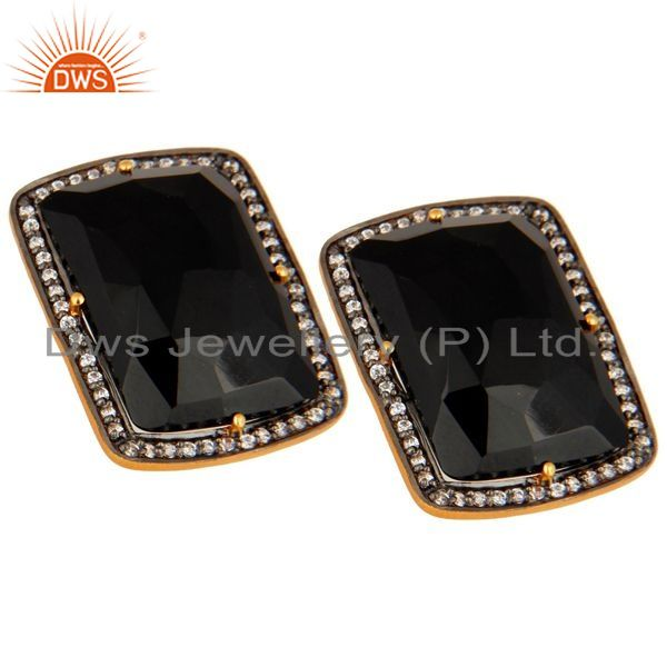 Exporter Gold Plated Sterling Silver Faceted Black Onyx with Cubic Zirconia Stud Earrings
