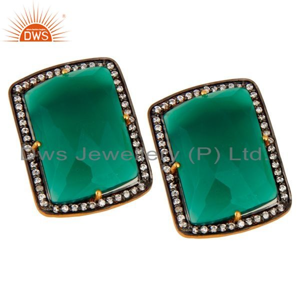 Exporter Gold Plated Sterling Silver Fancy Shape Green Onyx Prong Set Stud Earrings