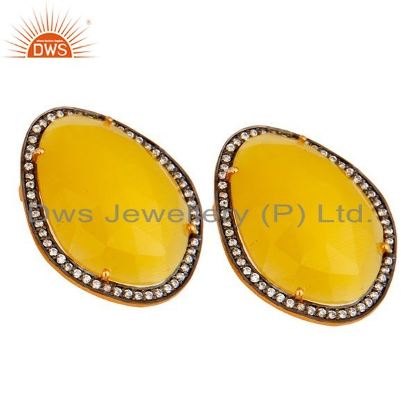 Exporter Moonstone Yellow Gemstone Large Stud Earrings With CZ Made in 24k Gold On Silver