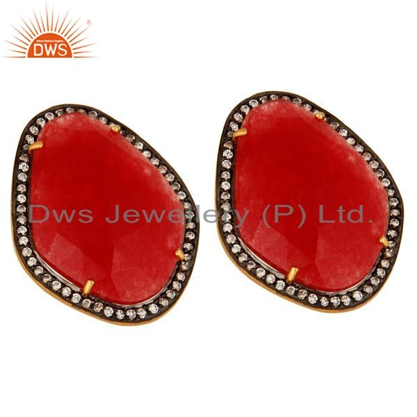 Exporter Gold Plated Sterling Silver Stud Earrings With Red Aventurine Gemstone And CZ
