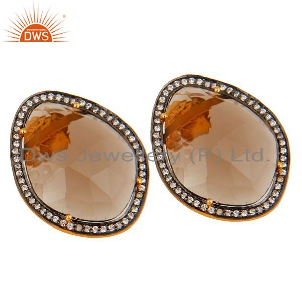 Exporter Gold Plated Sterling Silver SMoky Quartz Gemstone Stud Fashion Earrings With CZ
