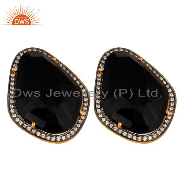 Exporter Gold Plated Sterling Silver Faceted Black Onyx Fashion Elegant Earrings With CZ