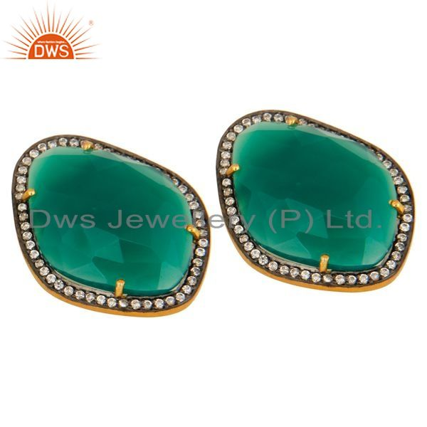 Exporter Green Onyx And Cubic Zirconia Stud Earrings In 18K Gold Over Sterling Silver
