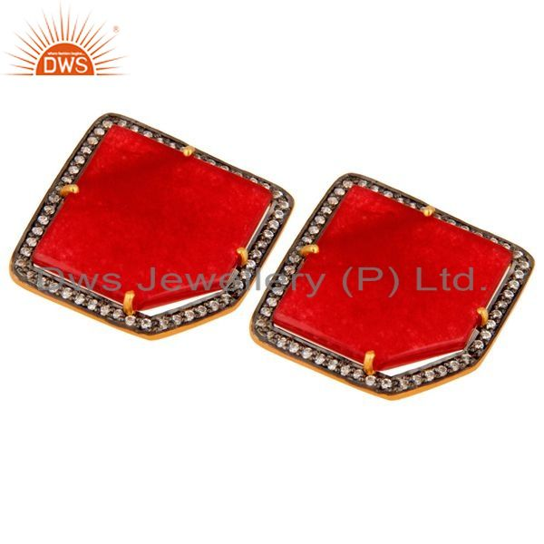 Exporter 18K Gold Plated Sterling Silver Red Aventurine Semi-Precious Stone Stud Earring