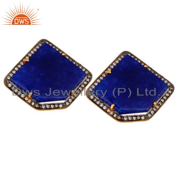 Exporter Yellow Gold Plated Sterling Silver CZ And Blue Aventurine Gemstone Stud Earrings