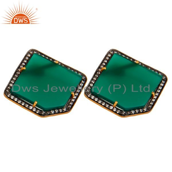 Exporter Gold Plated Sterling Silver Green Onyx Gemstone Stud Earrings With CZ Surround
