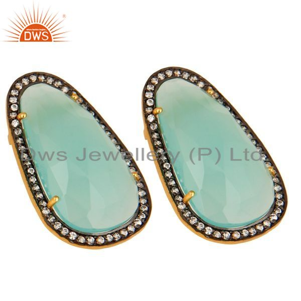 Exporter CZ And Aqua Glass Chalcedony Women Studs Earrings In 14K Gold Over 925 Silver