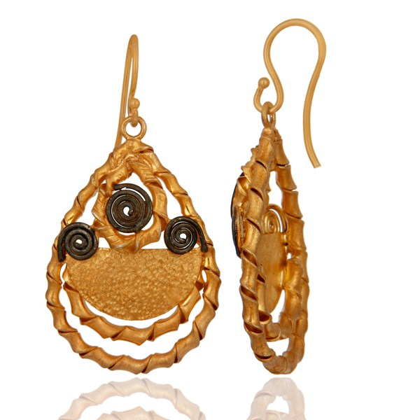 Exporter Handmade 18k Gold Plated Sterling Silver Twisted Wire Designer Dangle Earrings