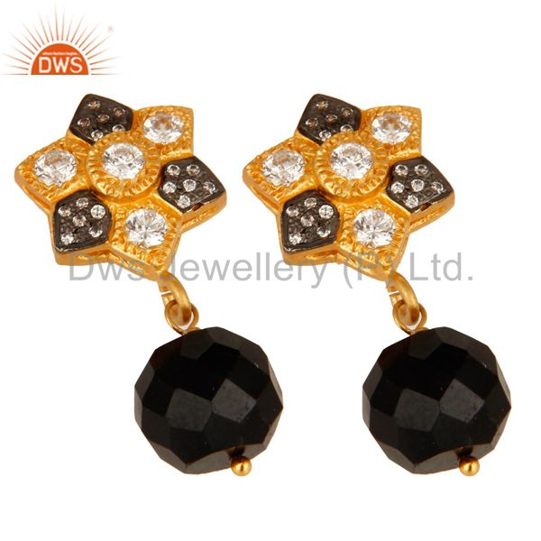 Supplier of Faceted Black Onyx Gold Plated Sterling Silver Wire Wrapped Earrings