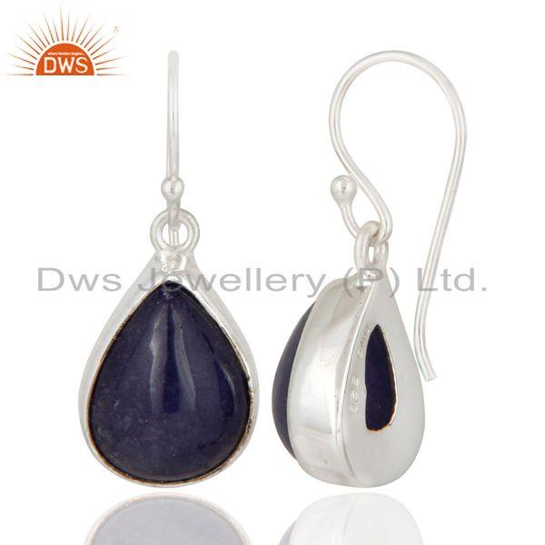 Exporter Indian Handcrafted Solid Sterling Silver Earrings With Natural Tanzanite Stone