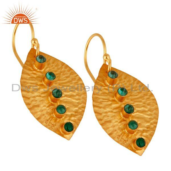 Exporter Natural Emerald Dangle 14K Yellow Gold Plated 925 Sterling Silver Earrings