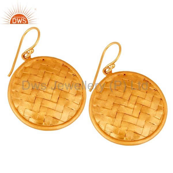 Exporter 22K Yellow Gold Plated Sterling Silver Woven Designer Disc Dangle Earrings