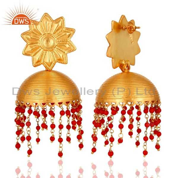 Exporter Handmade Sterling Silver With 22K Gold Plated Earrings Designer Temple Jewelry