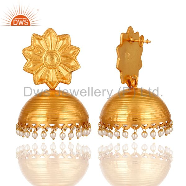 Exporter Stunning Gold Plated 925 Sterling Silver Pearl Jhumka Designer Ethnic Earrings
