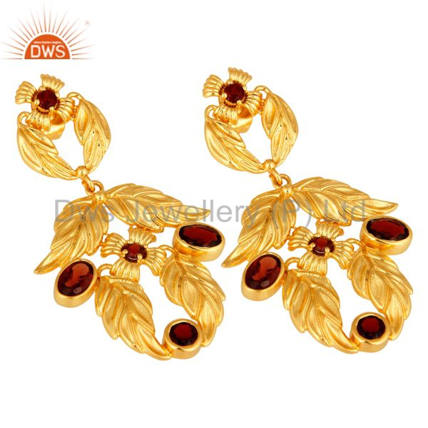 Exporter Natural Garnet Gemstone Handmade Earrings With 14K Yellow Gold Plated Jewelry