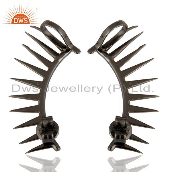 Exporter Black Rhodium Plated Sterling Silver Spike Designer Womens Ear Cuff Earrings