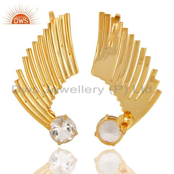 Exporter 22K Gold Plated 925 Sterling Silver Art Deco Crystal Quartz Ear Cuff Jewellery