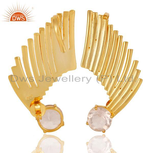 Exporter 22K Gold Plated 925 Sterling Silver Art Deco Rose Quartz Ear Cuff Studs Earrings