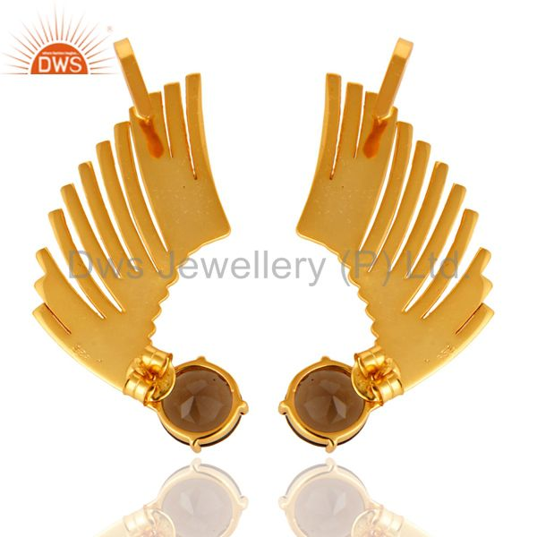 Exporter 14K Gold Plated Sterling Silver Smoky Quartz Ladies Fashion Ear Cuff Earrings