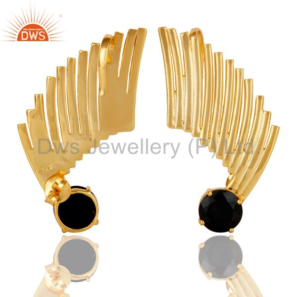 Exporter 14K Gold Plated Sterling Silver Black Onyx Ladies Fashion Ear Cuff Earrings