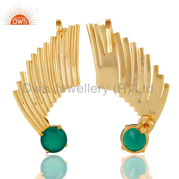 Exporter 14K Gold Plated Sterling Silver Green Onyx Ladies Fashion Ear Cuff Earrings