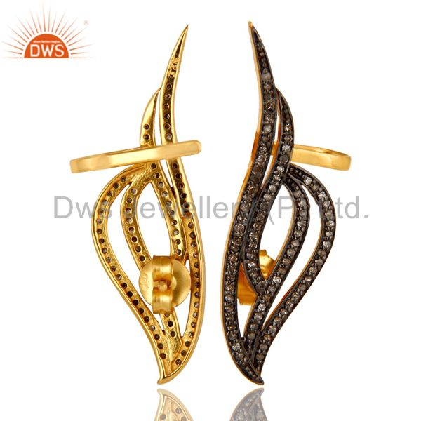 Exporter 14K Yellow Gold Sterling Silver Pave Set Diamond Fashion Ear Cuff Earrings