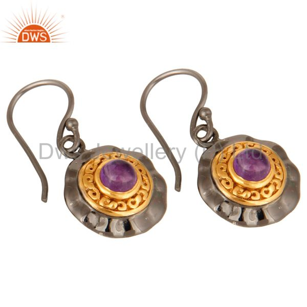 Exporter Amethyst Dangle 14K Yellow Gold Plated 925 Sterling Silver Earrings Jewelry