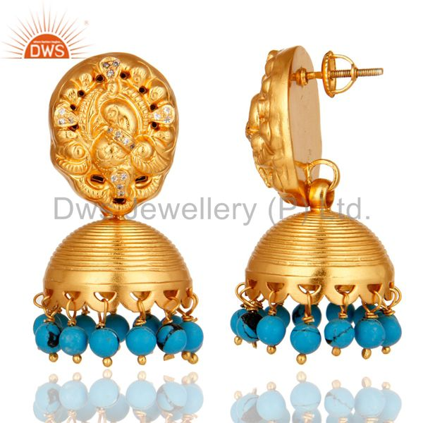 Exporter Turquoise 14K Yellow Gold Plated Sterling Silver Jhumka Earrings With CZ