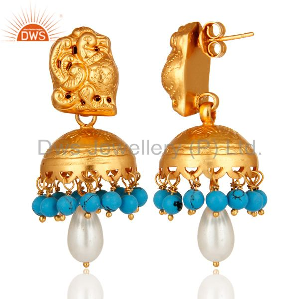 Exporter Gold Plated Sterling Silver Peacock Design Jhumka Earring With Pearl & Turquoise