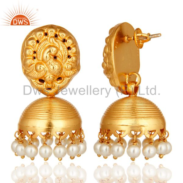 Exporter 14K Yellow Gold Plated Sterling Silver Pearl Earrings With Laxmi Design