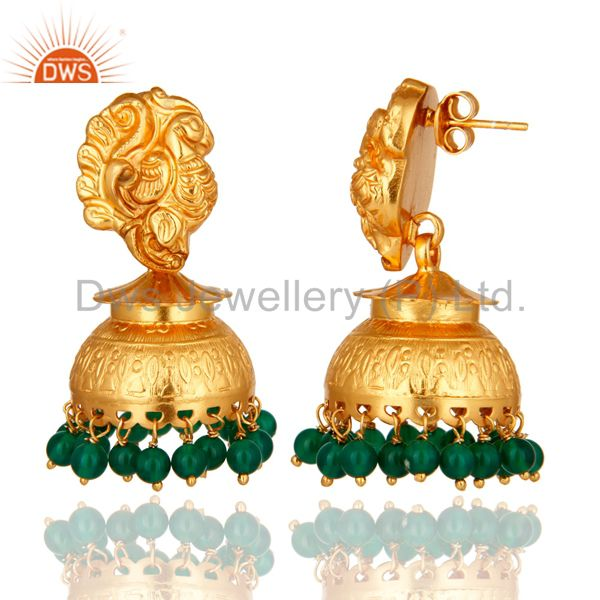 Exporter 18K Gold plated Sterling Silver Green Onyx Peacock Designer Jhumka Earrings