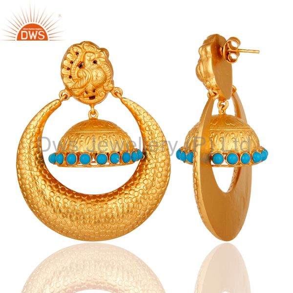 Exporter Textured Gold Plated Sterling Silver Peacock Design Jhumka Earrings With Turquoi