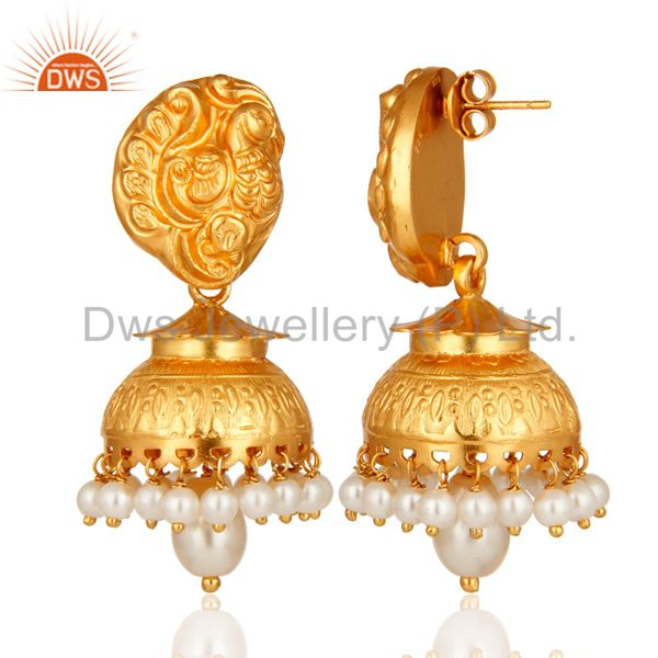Exporter 14K Gold Plated Sterling Silver Pearl Traditional Jhumka Earrings