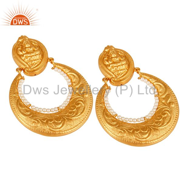 Exporter 24K Gold Plated Sterling Silver Lakshmi Engraved Jhumka Earrings With Pearl