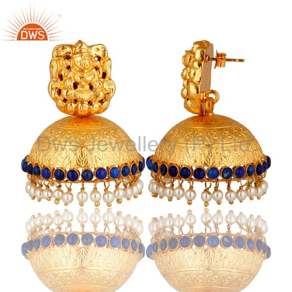 Exporter Gold Plated Silver Lakshmi Engraved Lapis & Pearl South Indian Jhumkas Earrings